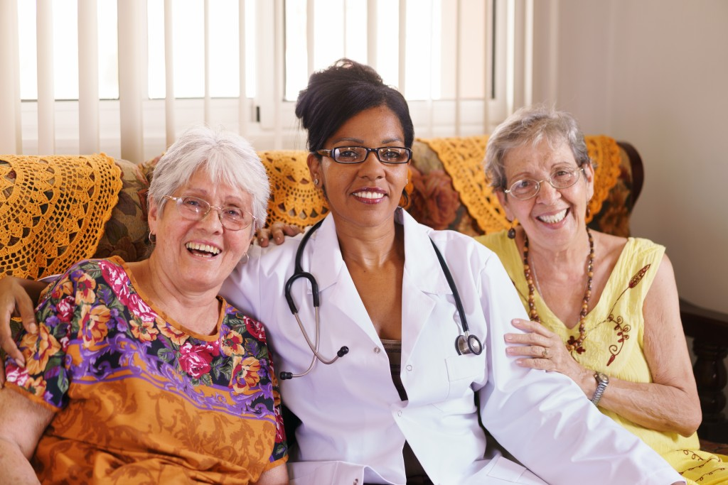 Old people in geriatric hospice