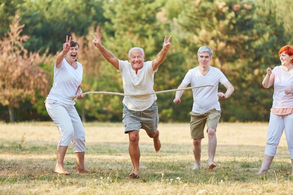 seniors playing outside