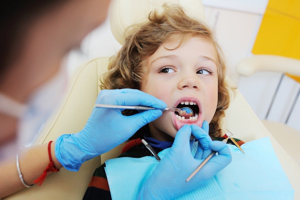 Little boy at the dentist